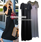 dm4 Celebrity Style Trendy Scoop Neck Short Sleeve Drape Cotton Maxi Dress