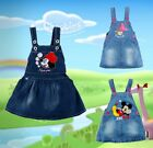 Free Ship Baby Girls Cute Mickey Minnie Blue Dungaree Jumpsuit Denim Dress 0-4Y