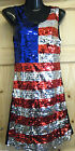 LADIES CUTE USA AMERICAN FLAG SEQUIN BLING PARTY SEXY DRESS FANCY DRESS 8-12