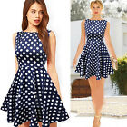 Sexy Women Summer Wave Dot Sleeveless Party Cocktail Short Mini Dress Trendy