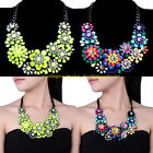 Fashion Black Chain Colorful Resin Cluster Flower Statement Choker Bib Necklace