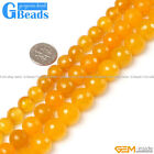 "Round Faceted Yellow Agate Beads Strand 15"" Free Shipping"