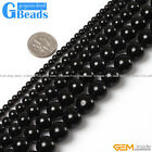 Natural Stone Black Tourmaline Round Beads For Jewelry Making Free Shipping 15""