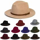 Mens Women Wool Vintage Felt Fedora Wide Brim Hat Cap New
