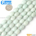Natural Stone Amazonite Olivary Rice Beads For Jewelry Making Free Shiping 15""