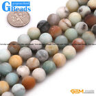 """Round Frosted Mixed Color Amazonite Gemstone Loose Beads Strand 15"""" Free Ship"""