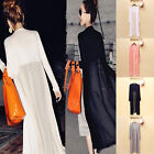Women Chiffon Splice Long Maxi Open Cardigan Shirt Jacket Kimono Coat