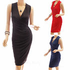 Fully Lined V-Neck Draping Ruched Wrap Cocktail Evening Party Sheath Dress
