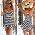 #gib Sexy Women Deep V-Neck Flounced Bodycon Striped Playsuit Jumpsuit Rompers