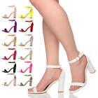 WOMENS LADIES HIGH HEEL BLOCK BUCKLE BARELY THERE STRAPPY SANDALS SHOES SIZE