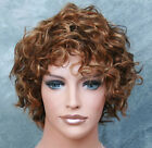 100% HUMAN HAIR Wig Curly/Wavy Short Brown Blonde Auburn Mix WIG JGTT 4-27-30