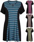 Womens Plus Size Short Sleeve Ladies Keyhole Stripe Flared Swing Dress Long Top