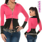 New Sexy Womens Two Way Zip Jacket Size 8-10 Casual Party Wear Hot Stretch Top