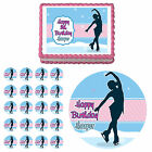Figure Skater Ice Skating Edible Birthday Party Cake Cupcake Toppers Decorations