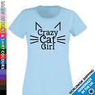 Ladies Crazy Cat Girls T shirt - Lady Kitten Pet Animal Lover Tshirt - Cute Top