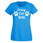 Ladies Crazy Cat Tshirt - Girl Lady Kitten Pet Animal Lover T Shirt New Cute Top