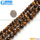 "Natural Tiger's Eye Gemstone Faceted Round Beads Free Shipping 15"" 8mm 10mm 12mm"