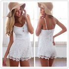 Sexy Womens Lace Backless Playsuit Summer Beach Party Evening Jumpsuit Shorts