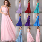 Chiffon One Shoulder Evening Long Bridesmaid Dresses Prom Formal Party Ball Gown
