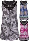 Womens Plus Size Floral Print Ladies Sleeveless Stud Bead Long Vest T-Shirt Top
