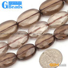 Oval Gemstone Smooth Faceted Smoky Quartz Jewelry Making Stone Beads Strand 15""