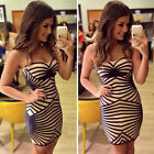 Women Club Strapless Bodycon Sexy Party Pencil Stripe Cocktail Celeb Mini Dress