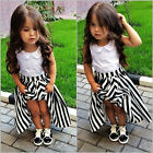 New Baby Girls Princess Party Dress White Lace Flower Stripe Gown Dress 2-7Y