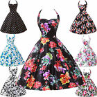 CHEAP~ VINTAGE 60s Cocktail TEA PARTY SUMMER Rockabilly FLORAL MINI HALTER Dress