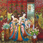"ART NOUVEAU STYLE 18"" CHINESE BEAUTY SILKPRINT WATERCOLOR PAINTING : FLORAL AGES"