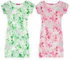 Girls Floral Print Midi Bodycon Dress Kids Short Sleeves Dresses New Ages 7-13