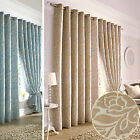 Chenille Floral CURTAINS – Rich Soft Jacquard Fully Lined with Ring Top Eyelet