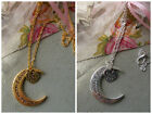 "20"" TIBETAN SILVER OR GOLDEN NECKLACE, I LOVE YOU TO THE MOON & BACK PENDANT"