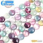 """Natural Stone Rainbow Fluorite Coin Beads For Jewelry Making 15"""" 12mm 14mm 20mm"""