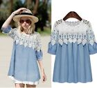 New Fashion Women Sheer  Embroidery Lace Crochet Tee Chiffon Shirt Blouse