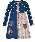 Girls Long Sleeved Patchwork Denim Floral Dress Kids Dresses New Ages 2-8 Years