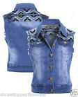 NEW DENIM Waistcoat JACKET Womens Jean Jackets Size 8 10 12 14 Aztec Blue Gilet