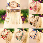 Women Tassel Wrist Watch Rhinestone Leather Sling Gold Chain Quartz Watch Cheap