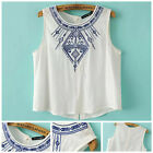 Tank Blouses Embroidery Ethnic Geometric O-neck Pullover Sleeveless Shirt Tops