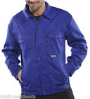 Work Driver Warehouse Jacket Workwear Royal Blue Poly Cotton Coat Unlined Zipped
