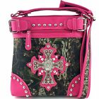 Western Cowgirl Camouflaged Mossy Oak Forest Camo Large Cross Messenger Handbag