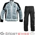 Rev It Airwave Motorcycle Jacket Trousers Silver Black Kit Summer Touring Outfit
