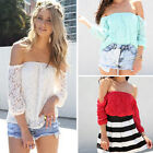 Fashion Womens Summer Lace Sexy Off-shoulder Loose Casual T-Shirt Blouse Tops