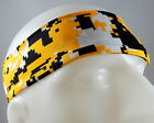 NEW! Super Soft Yellow Black Digital Camo Headband Sports Running Workout Hair