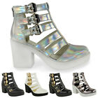 New Ladies Womens Cut Out Gladiator Strappy Ankle Boots Mid High Heel Shoes Size