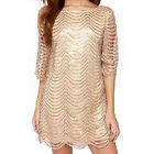 Sexy Women Waves Striped Lace 3/4 Sleeve Loose Crewneck Mini Dress top tunic