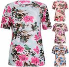 Womens Plus Size Floral Print Ladies Stretch Short Sleeve Tunic T-Shirt Long Top
