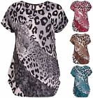 Womens Plus Size Animal Leopard Print Ladies Cap Sleeve Stud Tunic T-Shirt Top