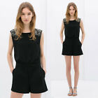 Sexy Punk Womens Rivets Backless Jumpsuit Night Club Shorts Playsuits Rompers