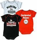 Miami Marlins MLB Infants Baby 3 Pack Bodysuit Creeper Set