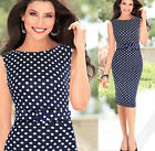 2014 Women Polka Dot  Slim Work Party Cocktail Shift Pencil Dress 090 USWB